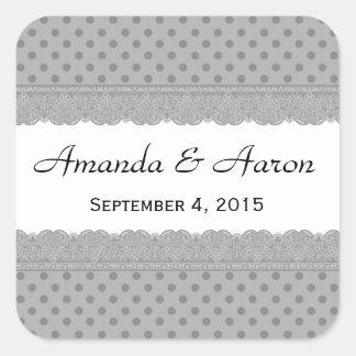 Bolinhas e coleção de prata do casamento do laço adesivo quadrado