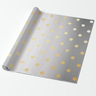 bolinhas elegantes da prata do ouro papel de presente