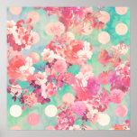 Bolinhas florais retros cor-de-rosa românticas da  pôsteres