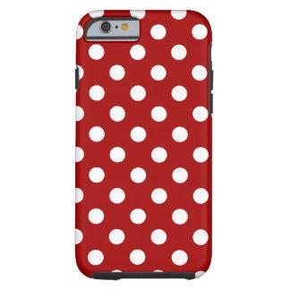 Bolinhas grandes - branco no vermelho escuro dos capa tough para iPhone 6