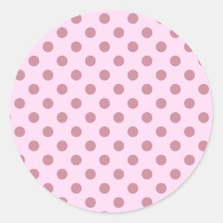 Bolinhas grandes - Puce no laço cor-de-rosa Adesivo Em Formato Redondo