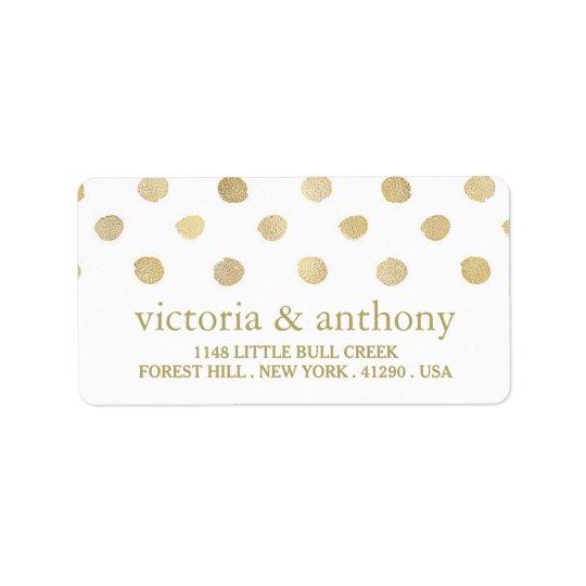 Bolinhas modernas do branco & do ouro que Wedding Etiqueta De Endereço
