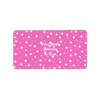 Bolinhas no fundo cor-de-rosa etiqueta de endereço