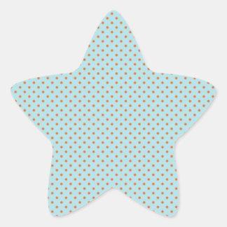 Bolinhas pequenas de Brown no fundo azul Adesivo Estrela
