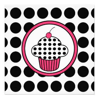 Bolinhas Pink do convite do cupcake da cereja p