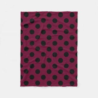 Bolinhas pretas em Borgonha Cobertor De Lã