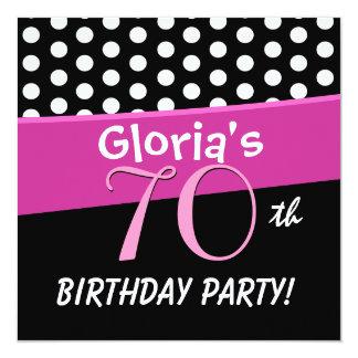 bolinhas preto e branco D417 do aniversário do 70 Convite Quadrado 13.35 X 13.35cm