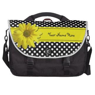 Bolinhas preto e branco da margarida amarela maleta para notebook