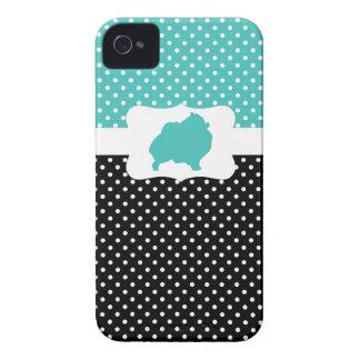 Bolinhas retros w/Pomeranian Capinhas iPhone 4