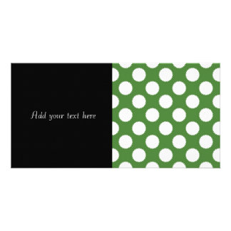 Bolinhas verdes e brancas cartões com foto personalizados