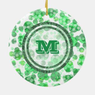 Bolinhas verdes Monongram Ornamento De Cerâmica Redondo