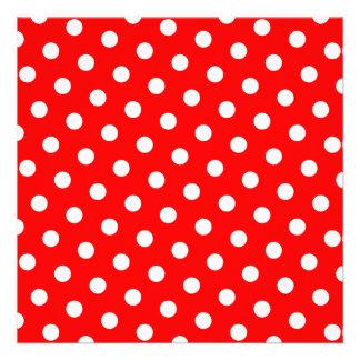 Bolinhas vermelhas e brancas convite personalizado