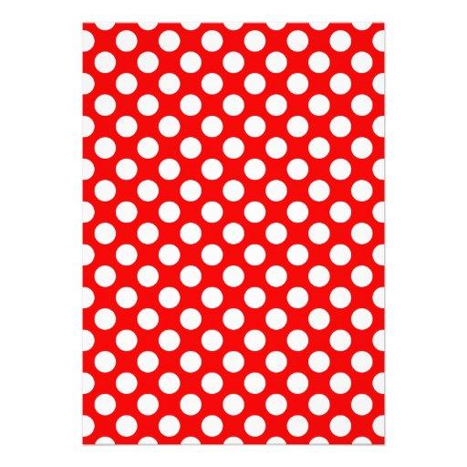 Bolinhas vermelhas e brancas convites personalizados