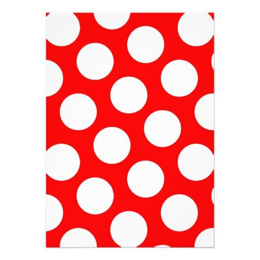 Bolinhas vermelhas e brancas grandes convites personalizado