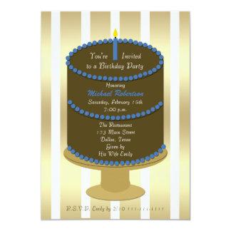 Bolo adulto da festa de aniversário com acento convite 12.7 x 17.78cm