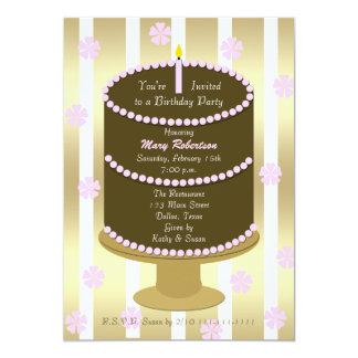 Bolo adulto do rosa da festa de aniversário com convite 12.7 x 17.78cm