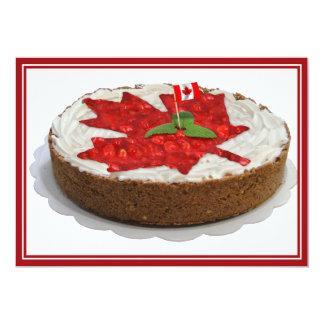 Bolo canadense da folha de bordo da cereja convite 12.7 x 17.78cm