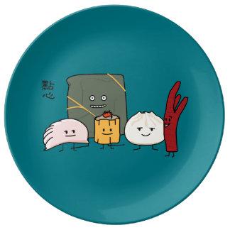 Bolo chinês dos bolos da bolinha de massa de Bao Pratos De Porcelana