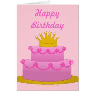 Bolo cor-de-rosa com vazio do aniversário da coroa cartao