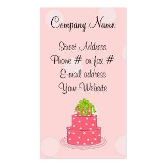 Bolo cor-de-rosa das bolinhas cartão de visita