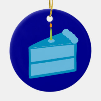 Bolo de aniversário azul ornamento de cerâmica redondo