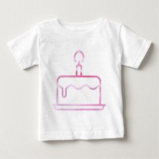 Bolo de aniversário cor-de-rosa do cetim camiseta para bebê