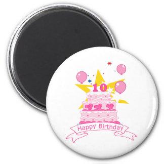 Bolo de aniversário da criança de 10 anos imãs de geladeira
