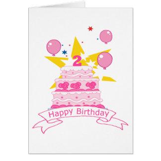 Bolo de aniversário da criança de 2 anos cartão