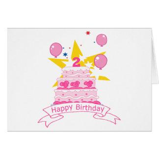Bolo de aniversário da criança de 2 anos cartão comemorativo