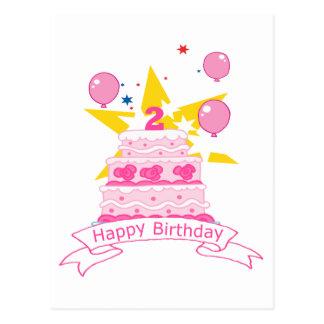 Bolo de aniversário da criança de 2 anos cartao postal