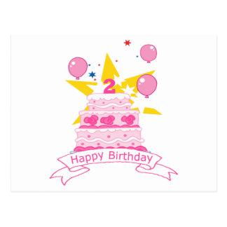 Bolo de aniversário da criança de 2 anos cartão postal
