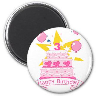 Bolo de aniversário da criança de 3 anos ímã redondo 5.08cm