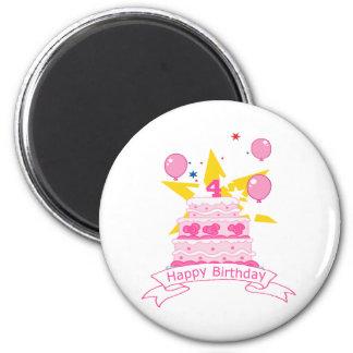Bolo de aniversário da criança de 4 anos ímã redondo 5.08cm