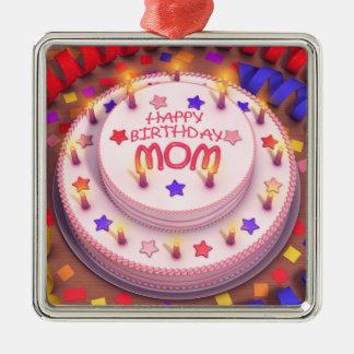 Bolo de aniversário da mãe ornamento quadrado cor prata