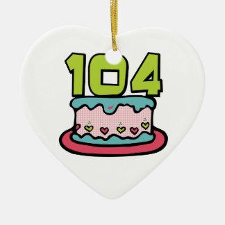 Bolo de aniversário das pessoas de 104 anos ornamento para arvore de natal