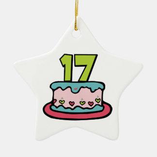Bolo de aniversário das pessoas de 17 anos ornamento de cerâmica estrela