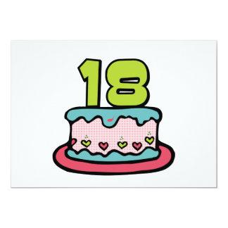 Bolo de aniversário das pessoas de 18 anos convite 12.7 x 17.78cm
