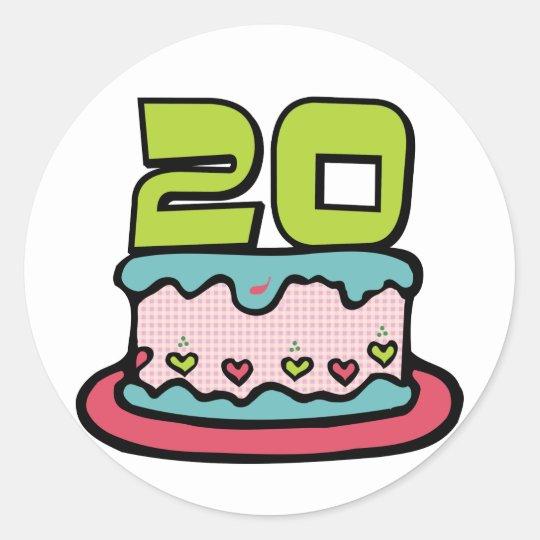 Bolo de aniversário das pessoas de 20 anos adesivo