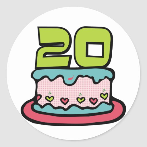 Bolo de aniversário das pessoas de 20 anos adesivos redondos