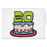 Bolo de aniversário das pessoas de 20 anos cartao