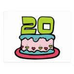 Bolo de aniversário das pessoas de 20 anos cartao postal