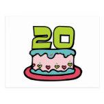 Bolo de aniversário das pessoas de 20 anos cartão postal