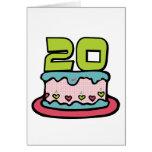 Bolo de aniversário das pessoas de 20 anos cartoes