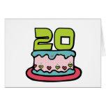 Bolo de aniversário das pessoas de 20 anos cartões