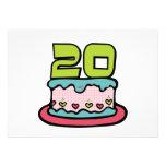 Bolo de aniversário das pessoas de 20 anos convite personalizados