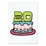 Bolo de aniversário das pessoas de 20 anos convites personalizados