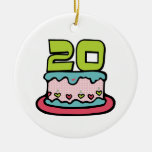 Bolo de aniversário das pessoas de 20 anos ornamento