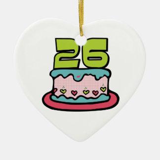 Bolo de aniversário das pessoas de 26 anos ornamento de cerâmica coração