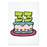 Bolo de aniversário das pessoas de 33 anos convite 12.7 x 17.78cm