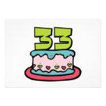Bolo de aniversário das pessoas de 33 anos convites personalizados